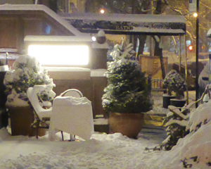 Snow covered restaurant table. 26th Jan 2015.